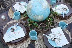 """Globe for table centerpiece...great idea for a graduation celebration...and for the guest book - Dr. Seuss's """"Oh the places you'll go"""" which would make a great souvenir for the graduate"""