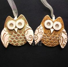 set of two cute little ceramic owl hanging decorations