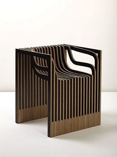 Impression chair (computer-cut plywood with laminate face) by English artist and designer Julian Mayor (2002) julianmayor.com
