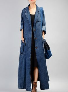 Blue Casual Denim With Pockets Coat