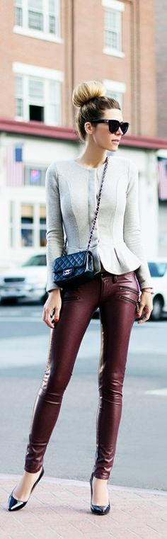 Grey Peplum, Leather Pants