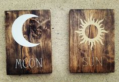 Solid pine Sun and Moon signs. Jacobean stain with silver and gold paint.