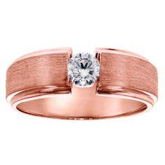 14k Yellow Gold Men's 2/5ct TDW Brilliant-cut Diamond Ring (, SI1-SI2) (14K Gold - Size .0)
