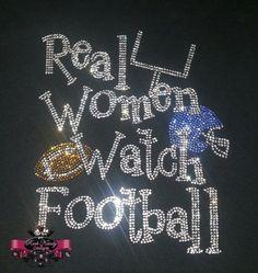 Real Women Watch Football Rhinestone Tee
