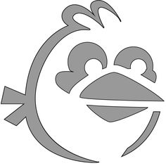 Angry birds blue bird. This is the pumpkin carving stencil for our large pumpkin. We are also going to carve little trailing circles behind it. How cool is that!