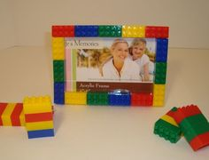 Lego-Inspired Frame by Brick by Brick - eclectic - frames - Etsy Lego Bedroom Decor, Bedroom Ideas, Lego Pictures, 4x6 Picture Frames, Lego Craft, Lego Birthday Party, Lego Room, Father's Day Diy, Decorating With Pictures