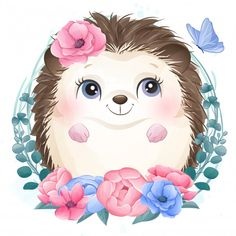 Cute Little Hedgehog Portrait With Floral Cartoon Pics, Cute Cartoon, Disney Drawings, Cute Drawings, Baby Animals, Cute Animals, Baby Animal Drawings, Cute Animal Illustration, Foto Baby