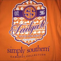 Simply Southern Clemson Shirt Simply Southern Clemson Shirt for sale! Worn once! Made for the Clemson Tigers! Small spot shown against sunglasses to show size. Simply Southern Tops Tees - Short Sleeve