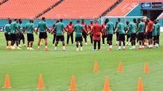Ghana National football team huddled during a training session