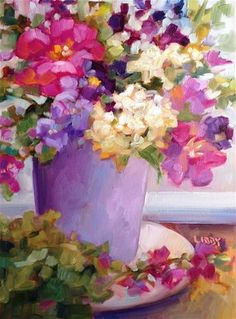 """Daily Paintworks - """"Blissful"""" - Original Fine Art for Sale - © Libby Anderson"""