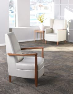 Created by renowned designers Paul James and Dan Cramer, KI's Affina is an elegant and sophisticated comprehensive healthcare collection that allows for visual continuity from the lobby to the patient room. #healthcare #furniture #lounge #seating www.ki.com