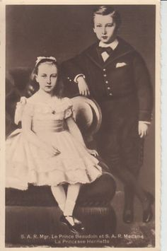 Prince Baudouin and Princess Henriette of Belgium were the first two children of Prince Philippe, Count of Flanders, and his wife, Princess Marie of Hohenzollern-Sigmaringen.  Prince Philippe became his brother, King Leopold's heir, and Prince Baudouin would have become king if he had not been killed in a duel at the age of 21 in 1891.  Princess Henriette became the Duchess of Vendome and lived a long and full life.