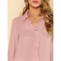 SheIn(sheinside) Button Up Scallop Placket Blouse ($15) ❤ liked on Polyvore featuring tops, blouses, pink shirt, button down collar shirts, long sleeve collared shirt, short-sleeve button-down shirts and button up blouse