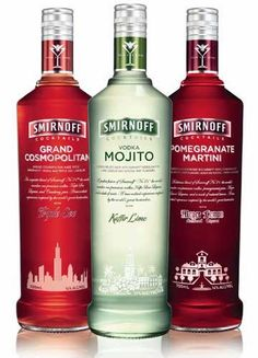 The Smirnoff RTD line includes a (vodka-based) mojito, cosmopolitan, and pomegranate martini. What it doesn't include are artificial sweeteners or high-fructose corn syrup. Instead, each of the three cocktails are sweetened by the addition of a liqueur. Cocktails, Party Drinks, Alcoholic Drinks, Beverages, Vodka Drinks, Cocktail Mix, Cocktail Drinks, Cocktail Recipes, Drink Bottles