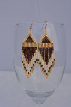 Native American beaded earrings, fringe earrings, seed bead earrings, gold, multicolor, statement earrings, beaded earrings, gifts for her by SouthernNativeBeads on Etsy https://www.etsy.com/listing/241346986/native-american-beaded-earrings-fringe