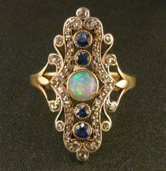 Victorian opal sapphire  diamond silver on gold ring