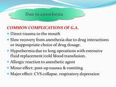 Perioperative complications (respiratory) - Common complications of G.A.