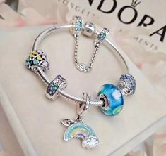 Pandora new enchanted heart love charm rainbow pendant charm bracelet