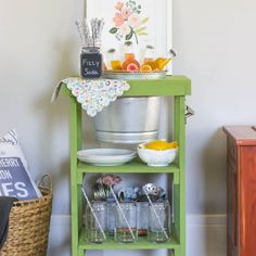 Create your own DIY Beverage Station perfect for summer parties!  Style with fun florals and fruity drinks.