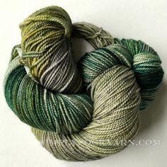Dragonfly Fibers 100% superwash merino yarn for shawls.  I like socks to have some nylon, but love this color. #greensockyarn #variegatedgreenyarn #superwashyarn