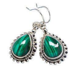 """Ana Silver Co Malachite 925 Sterling Silver Earrings 1 1/2"""" EARR348546"""