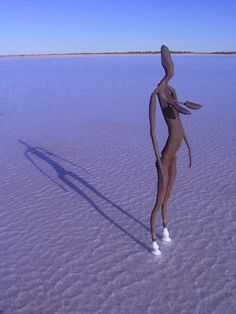 Anthony Gormley sculpture on Lake Ballard