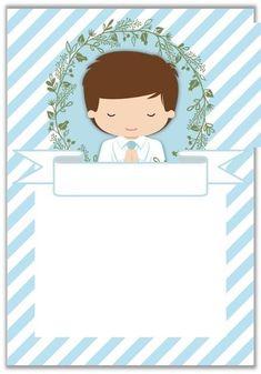 Baptism Invitations Girl, Holy Communion Invitations, Boys First Communion, Première Communion, Recuerdos Primera Comunion Ideas, Page Borders Design, Baptism Party, Christening, Baby Shower