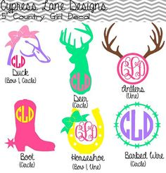 5 Custom Country Girl Decals with Monogram by CypressLaneDesigns. I love the antlers and the barbed wire! Silhouette Cameo Projects, Silhouette Design, Vinyl Crafts, Vinyl Projects, Vinyl Monogram, Anchor Monogram, Monogram Letters, Vinyl Shirts, Vinyl Designs