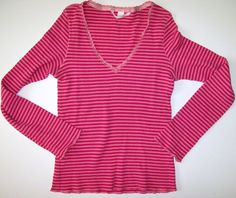 Victorias Secret Pink and Fushia Striped Thermal L Large PJ Pajama Top Shirt LS #VictoriasSecret #PajamaTop