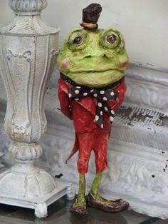 OOAK Sculpted Vintage Victorian Paper Mache Folk Art Frog