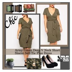 """""""Army Green Deep V Neck Short Sleeve Self-Tie Plus Dress 6."""" by allanaaa11 ❤ liked on Polyvore featuring Dot & Bo and Make"""