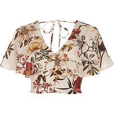 Crepe fabric Floral print Short cap sleeve Frill overlay Button placket Tie back detail Cropped length Loose fit V neck Our model wears a UK 8 and is Loose Crop Top, Loose Fit, Floral Crop Tops, Fashion Outfits, Womens Fashion, Pink Tops, Pretty Outfits, Blouse Designs, Crop Tops