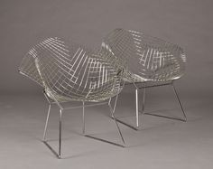 Harry Bertoia. Two Diamond Chairs of chromed steel, produced by Knoll International. Designed in 1950-52.