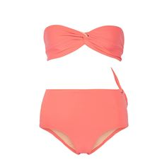 - A streamlined high-waisted bandeau bikini is both elegant and flattering for any sophisticated lady who wants everything sucked in.