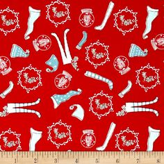Riley Blake Pixie Noel Hats and Socks Red from @fabricdotcom  Designed by Tasha Noel for Riley Blake Designs, this cotton print collection is perfect for bringing a pastel and retro look to your christmas quilts, apparel, and home decor accents. Colors include red, aqua, white, and green accents.