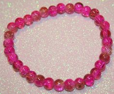 Pink and Brown Crackle Bead Bracelet by SageBeauties on Etsy, $6.00