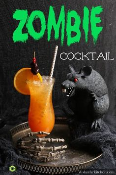 Here it is...the cocktail that launched a thousand Tiki Bars! This boozy Halloween Zombie Cocktail is a blend of 3 rums, liqueurs, and citrus juices kissed with tropical Passionfruit puree. It's a mouthwatering twist on a Tiki Classic! #Tiki #ZombieCocktail #Cocktail #RumCocktail Cocktail Names, Cocktail Garnish, Halloween Coctails, Zombie Cocktail, Halloween Zombie, Tiki Bars, Pomegranate Juice, Halloween Celebration, Liqueurs