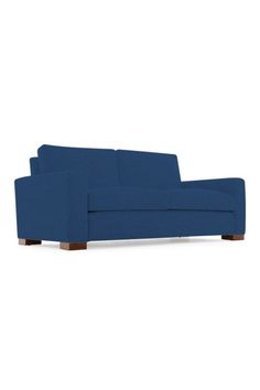 Brooklyn Perfect Futon Sofa Sleeper Medium Oak Wood Finish Dark Blue Upholstery Queen Size Sit N Sleep Uni Products