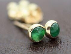 Image of Emerald Stud Earrings, Solid 14k Yellow Gold, Emerald Post Earrings, Petite Emerald Earrings