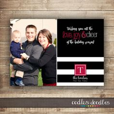 Christmas Photo Card Black and White Stripes Holiday by OandD