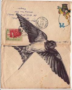 markpowellartist:    Bic biro drawing on a 1972 Vietnamese envelope.