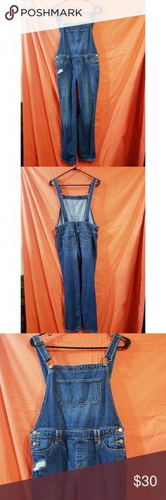 "Size 14 navy Blue Overalls Size 14 navy blue Gapkids overalls, adjustable straps, distressed, back pockets. Excellent used condition               Inseam 28"" long. #denim #gapkids #gap #go4th #4thofjulysale #sale #25percentoff #overalls GAP One Pieces"