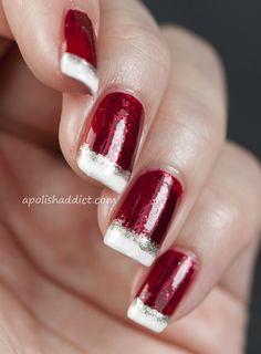22 Glamorous and Sequin Nail Art , Cathy Henry Xmas Nails, Holiday Nails, Red Nails, Pink Nail, Red Christmas Nails, Ombre Nail, Valentine Nails, Christmas Colors, Fancy Nails
