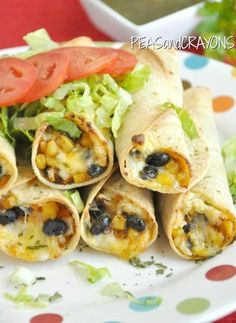 Baked Black Bean + Sweet Potato Flautas  http://www.peasandcrayons.com/2012/09/baked-black-bean-sweet-potato-flautas.html
