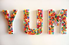 DIY Candy YUM Sign for the kitchen, an ice cream party, or a colorful dorm room!