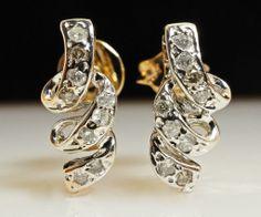 Vintage 14k White & Yellow Gold Twist Hanging Stud Earrings