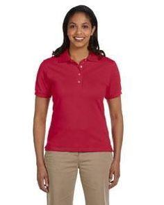 e2dcc0dc Jerzees Ladies' 6.5 oz. Ringspun Cotton Piqué Polo 440W TRUE RED 391 Anvil  Ladies' Sheer Scoop-Neck Tee