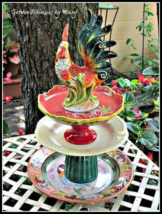 Fancy Rooster Garden Totem / Dessert Stand by GardenWhimsiesByMary, $50.00