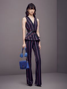 Altuzarra | Pre-Fall 2016 | 13 Navy striped sleeveless top and trousers