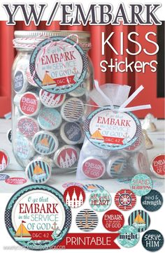 EMBARK themed Young Women KISS Stickers - perfect for birthday gifts, favors, handouts, New Beginnings, YW in Excellence or for a drop-by gift for a less active girl.... or sprinkle around a centerpiece! LDS #mycomputerismycanvas